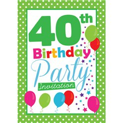 40th Birthday Invitation cards - Green Poka Dot - Medium