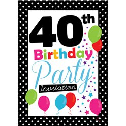40th Birthday Invitation cards - Black Poka Dot - Medium