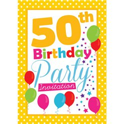 50th Birthday Invitation cards - Yellow Poka Dot - Medium