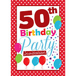 50th Birthday Invitation cards - Red Poka Dot - Medium