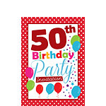50th Birthday Invitation cards - Red Poka Dot - Small