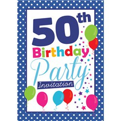 50th Birthday Invitation cards - Blue Poka Dot - Medium