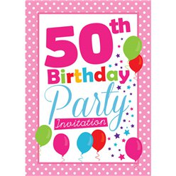 50th Birthday Invitation cards - Pink Poka Dot - Medium