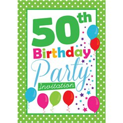 50th Birthday Invitation cards - Green Poka Dot - Medium