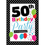 50th Birthday Invitation cards - Black Poka Dot - Medium