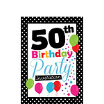 50th Birthday Invitation cards - Black Poka Dot - Small