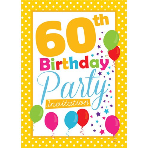 60th Birthday Invitation Cards Yellow Poka Dot Small