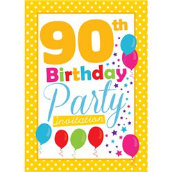 90th Birthday Invitation cards - Yellow Poka Dot - Small