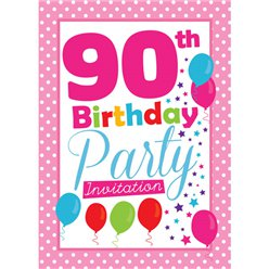 90th Birthday Invitation cards - Pink Poka Dot - Medium