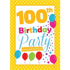 100th Birthday Invitation cards - Yellow Poka Dot - Medium