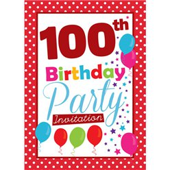 100th Birthday Invitation cards - Red Poka Dot - Medium
