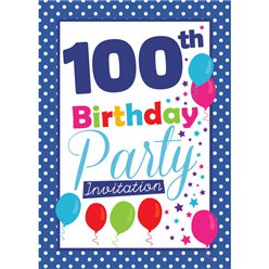 100th Birthday Invitation cards - Blue Poka Dot - Medium