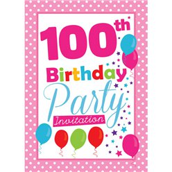 100th Birthday Invitation cards - Pink Poka Dot - Medium