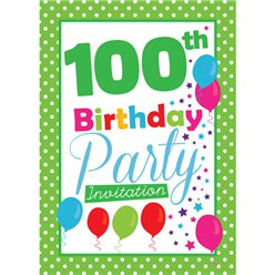 100th Birthday Invitation cards - Green Poka Dot - Medium