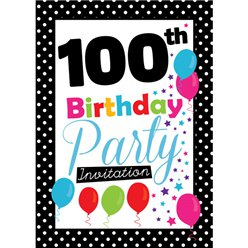 100th Birthday Invitation cards - Black Poka Dot - Medium