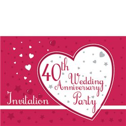 Invitation cards - 40th Wedding Anniversary - Small