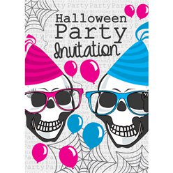 Halloween Party Skeletons Invitations - Medium