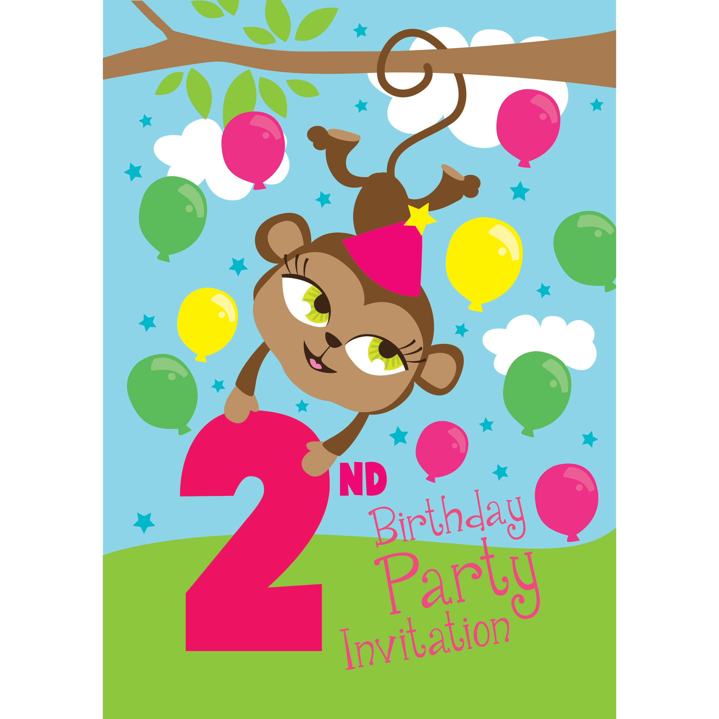 Jungle party invitations party delights 2nd birthday party invites medium filmwisefo Images