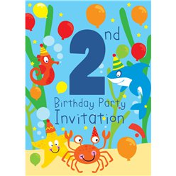 2nd Birthday Party Invites - Small