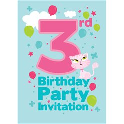 3rd Birthday Party Invites - Small