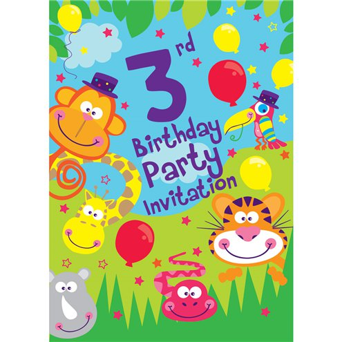 3rd Birthday Party Invites Medium Party Delights