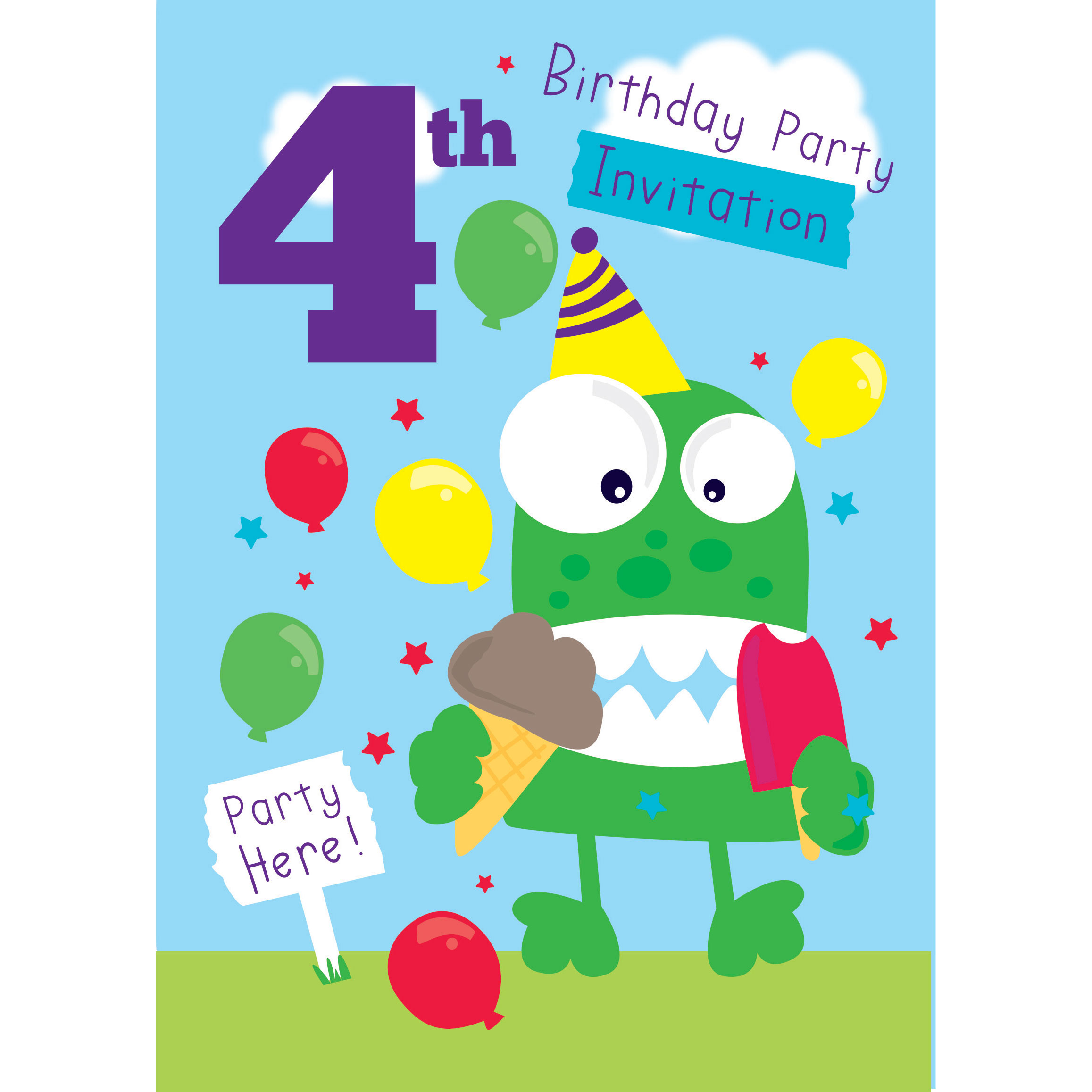 4th birthday party supplies party delights 4th birthday party invites medium filmwisefo
