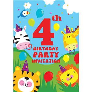 4th Birthday Party Invites - Small