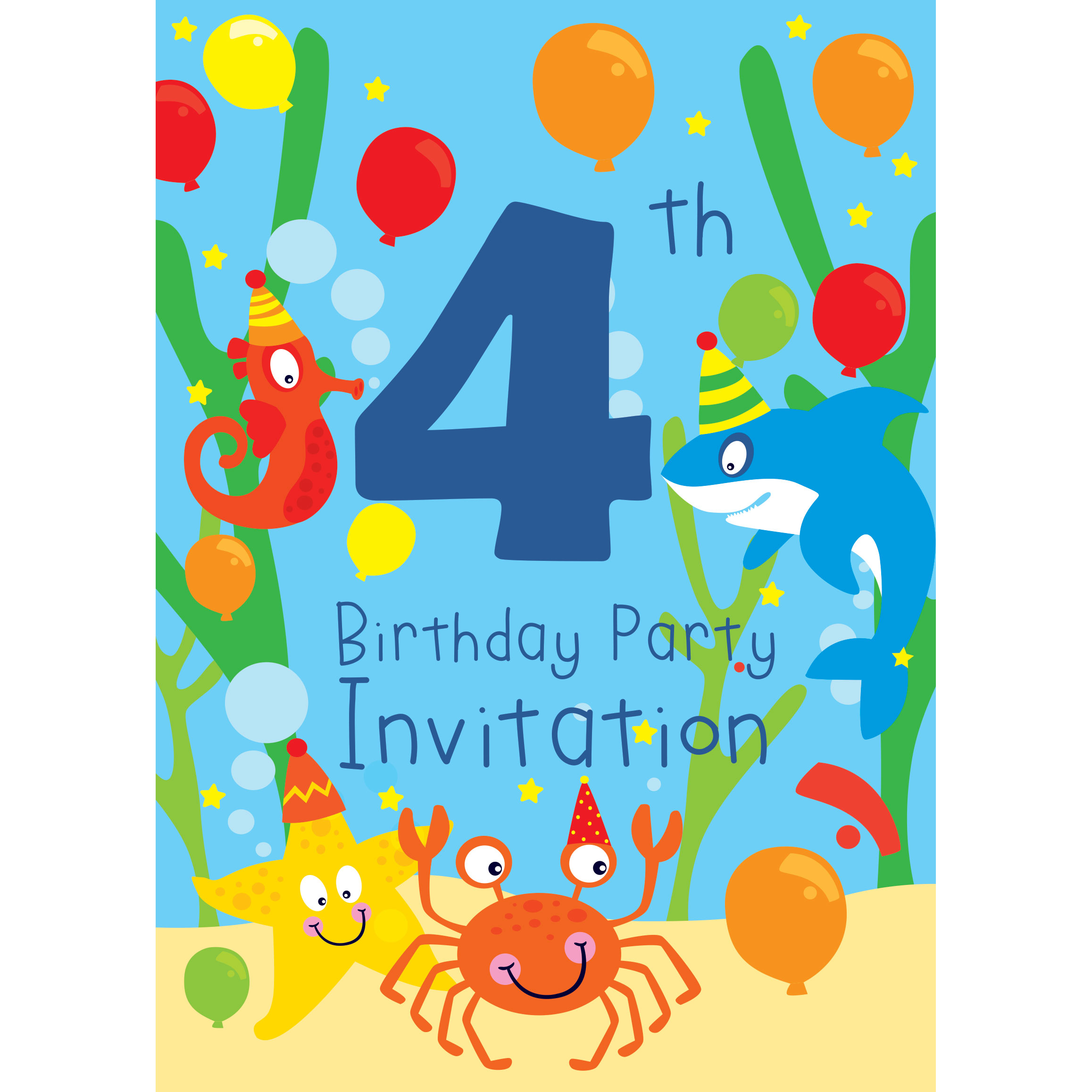 4th Birthday Party Invitations Seroton Ponderresearch Co