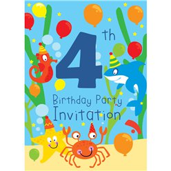 4th Birthday Party Invites - Medium