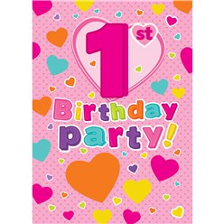 1st Birthday Invitation Cards Hearts - Medium