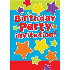 General Birthday Invitation Cards Stars - Medium