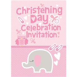 Girls Christening Invitation Cards - Medium