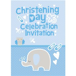 Boys Christening Invitation Cards - Medium
