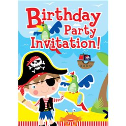 Pirate & Parrot Invitation Cards  - Small