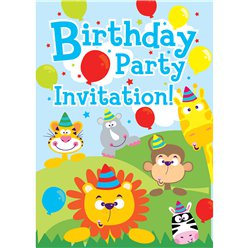 Safari Animals Invitation Cards  - Small