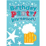 Beer Birthday Invitation Cards - Small