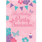 Summer Garden Birthday Invitation Cards - Medium