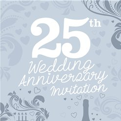 25th Wedding Anniversary Invitation Cards - Small