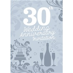 30th Wedding Anniversary Invitation Cards - Medium