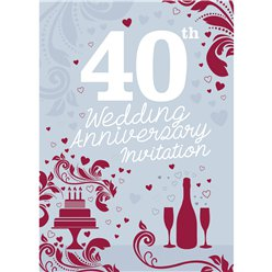 40th Wedding Anniversary Invitation Cards - Medium