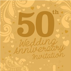 50th Wedding Anniversary Invitation Cards - Medium