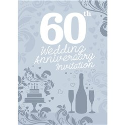 60th Wedding Anniversary Invitation Cards - Medium