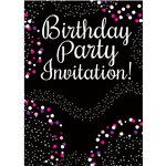 Happy Birthday Pink Invitation Cards - Small