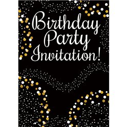Happy Birthday Gold Invitation Cards - Medium
