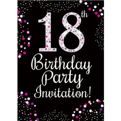 18th Birthday Pink Invitation Cards - Medium