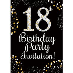 18th Birthday Gold Invitation Cards - Medium
