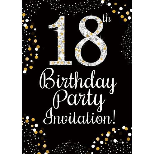 18th Birthday Gold Invitation Cards Small