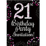 21st Birthday Pink Invitation Cards