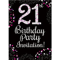 21st Birthday Pink Invitation Cards - Small