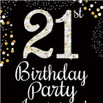 21st Birthday Gold Invitation Cards - Medium